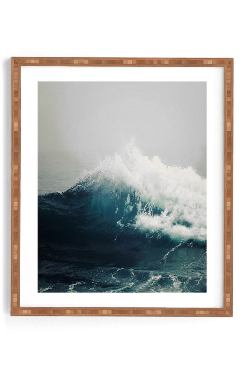 DENY DESIGNS Sea Wave Framed Wall Art, Main, color, BLUE