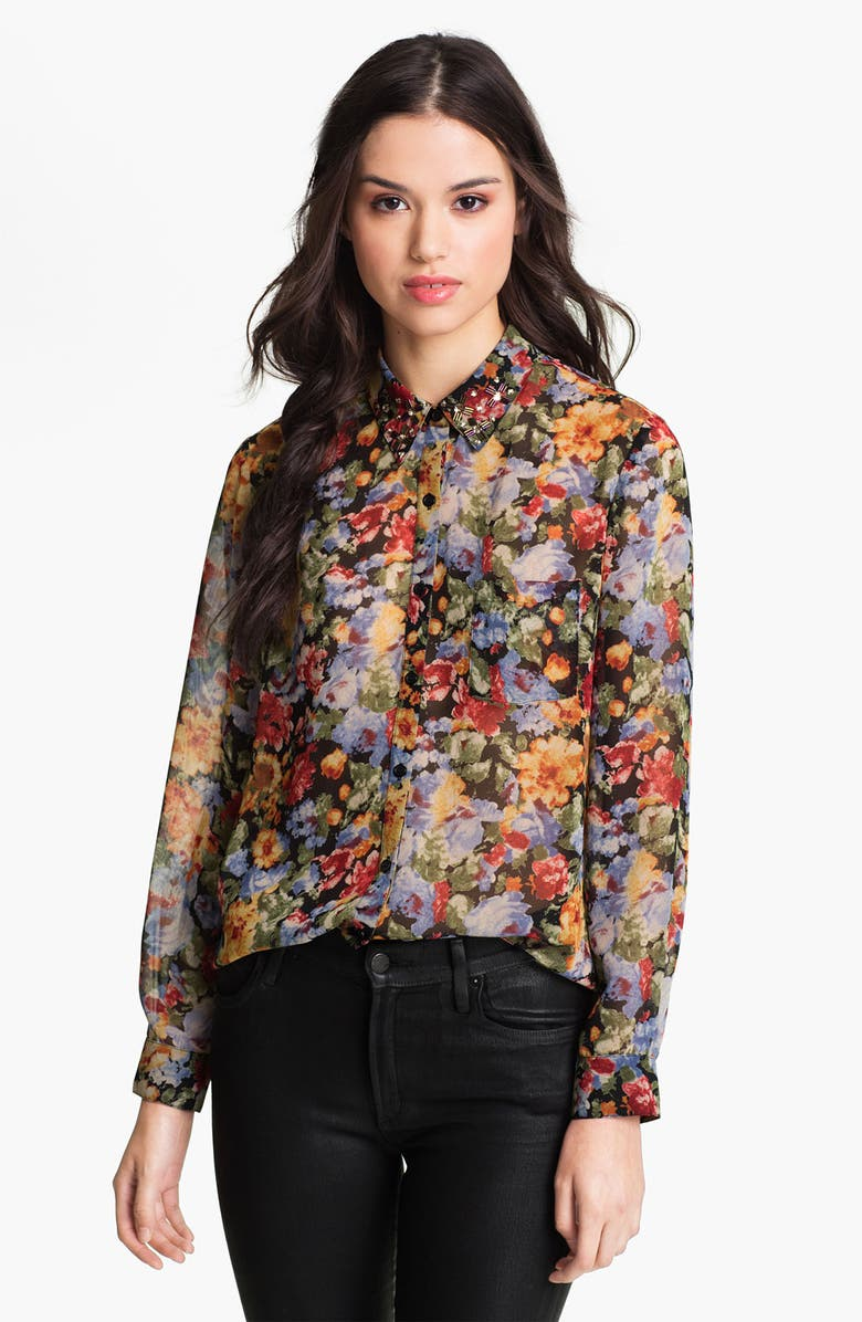 BELLATRIX Embellished Collar Print Chiffon Shirt, Main, color, 004