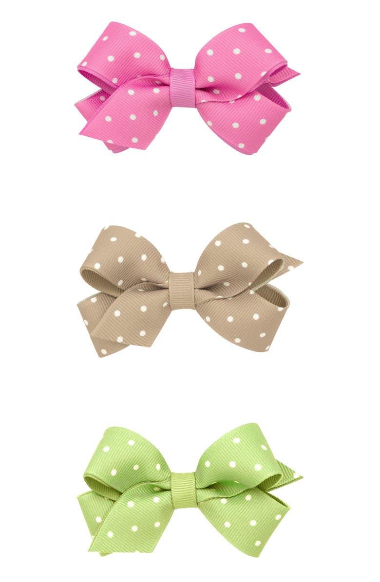PLH BOWS 3-Pack Tiny Dot Bow Hair Clips, Main, color, KHAKI