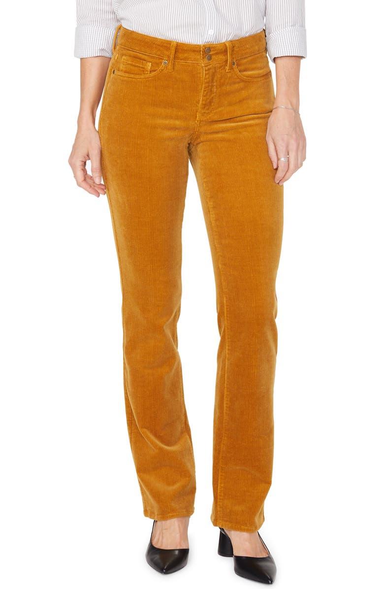 NYDJ Marilyn Double Snap Waist Straight Leg Jeans, Main, color, DESERT KHAKI