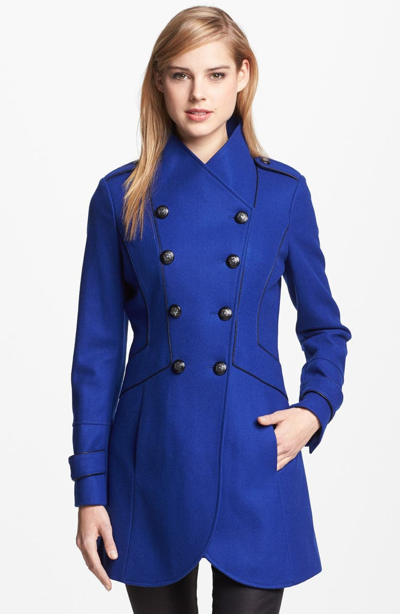 GUESS Double Breasted Military Coat, Main, color, 400