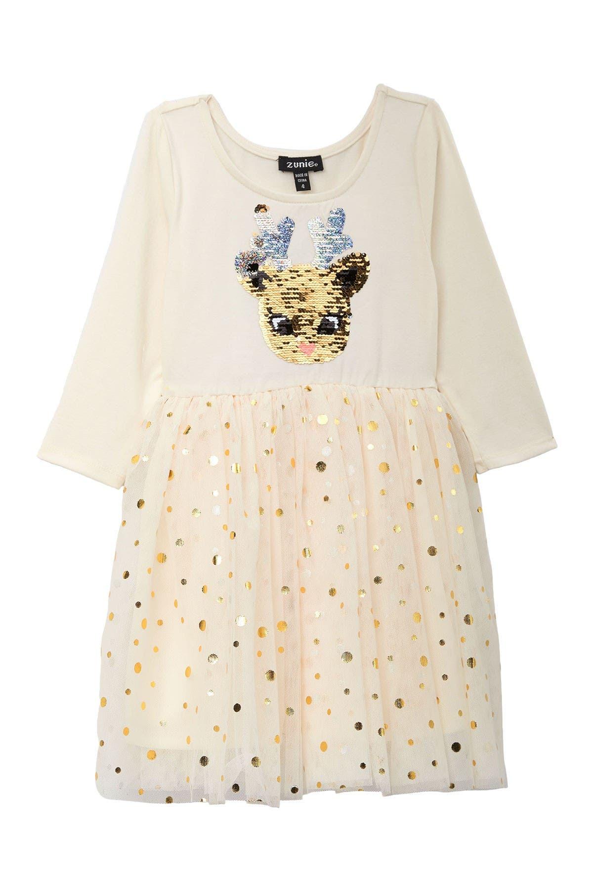 Image of Zunie 3/4 Sleeve Sequin Reindeer Dress