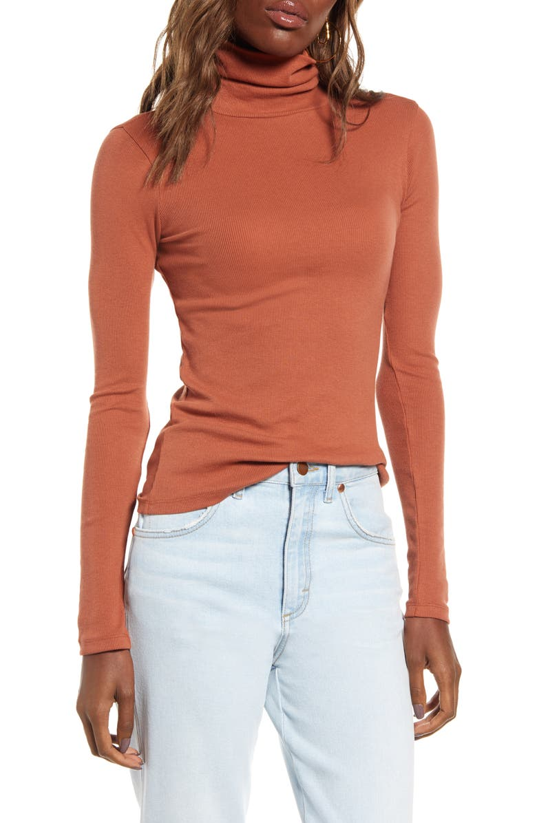 BP. Turtleneck Ribbed Top, Main, color, RUST SEQUOIA