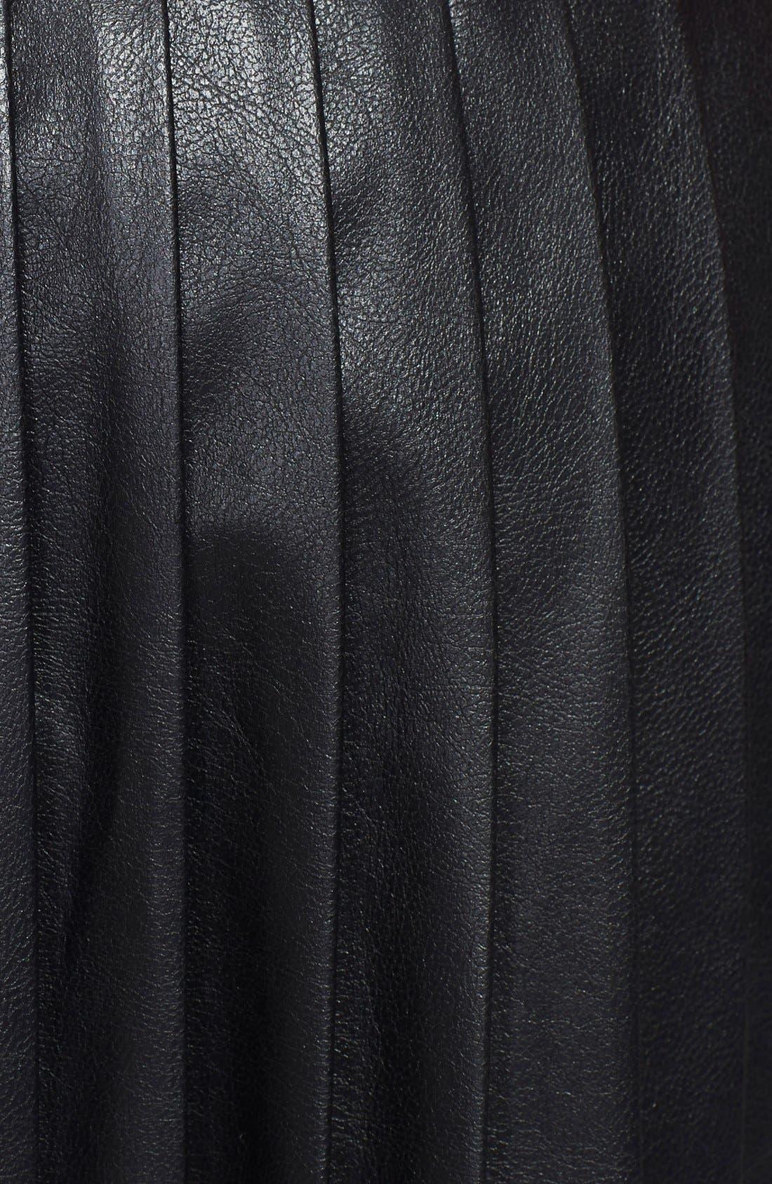 ,                             Pleated Leather Skirt,                             Alternate thumbnail 2, color,                             001