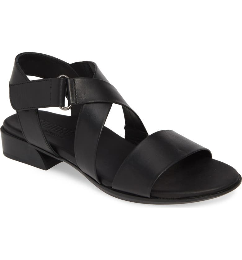 MUNRO Souki Sandal, Main, color, BLACK LEATHER