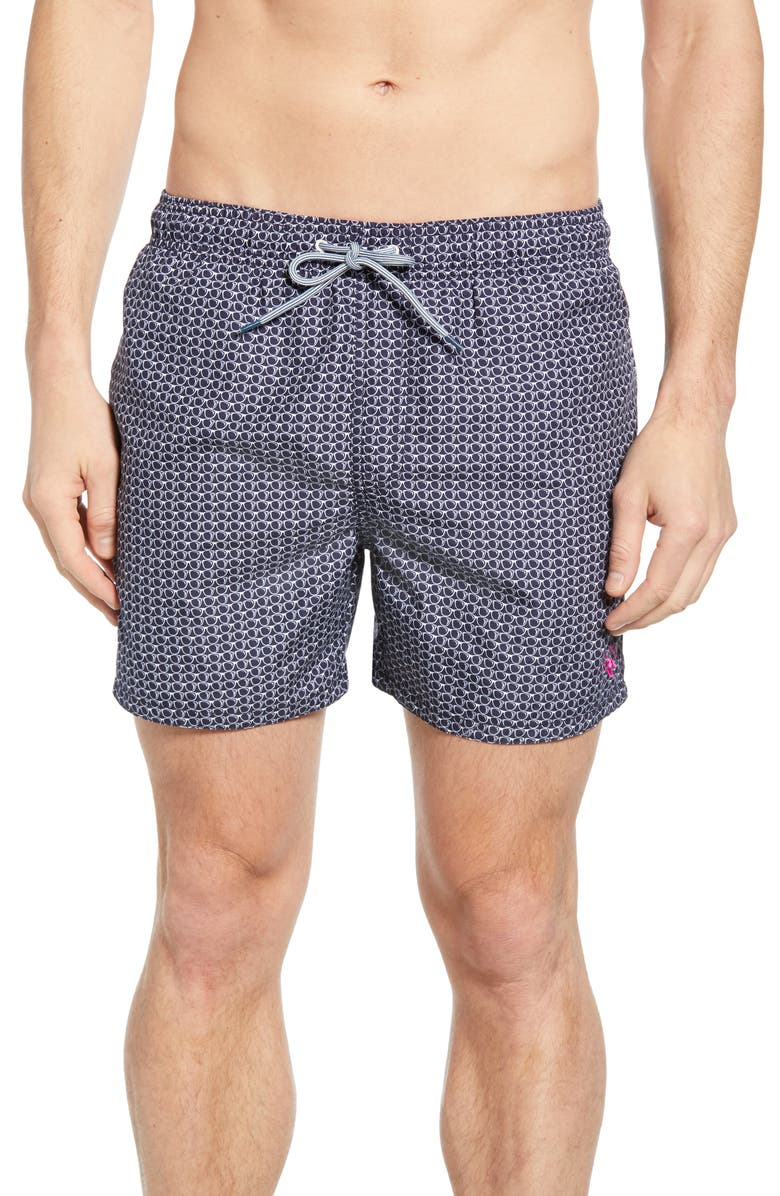 TED BAKER LONDON Sunego Sunglasses Print Swim Trunks, Main, color, NAVY