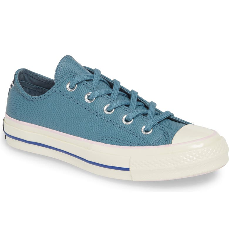 CONVERSE Chuck Taylor<sup>®</sup> All Star<sup>®</sup> Chuck 70 Ox Leather Sneaker, Main, color, TEAL/ PINK FOAM/ EGRET