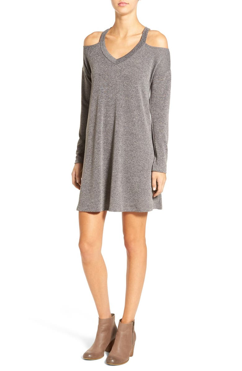 EVERLY Cold Shoulder Swing Dress, Main, color, GREY