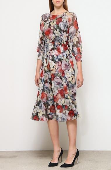 Poppy Collage Floral Silk Midi Dress, video thumbnail