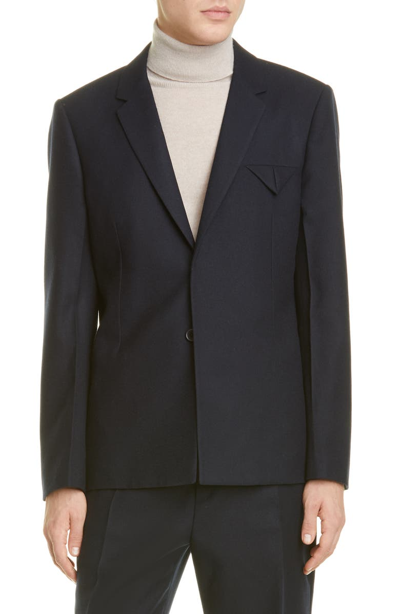 BOTTEGA VENETA Wool Felt Blazer, Main, color, DARK NAVY