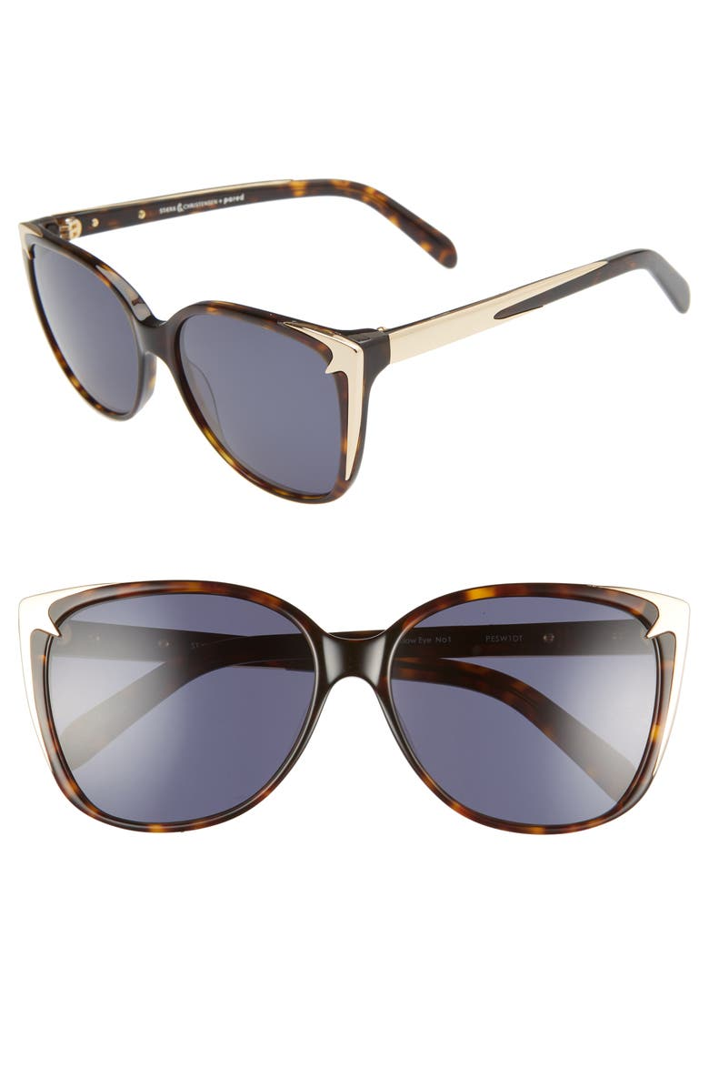 PARED x STÆRK&CHRISTENSEN Swallows 58mm Sunglasses with Removable Chain, Main, color, TORTOISE/ GOLD/ SOLID GREY