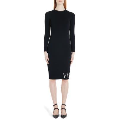 Valentino Vltn Logo Long Sleeve Sweater Dress, Black