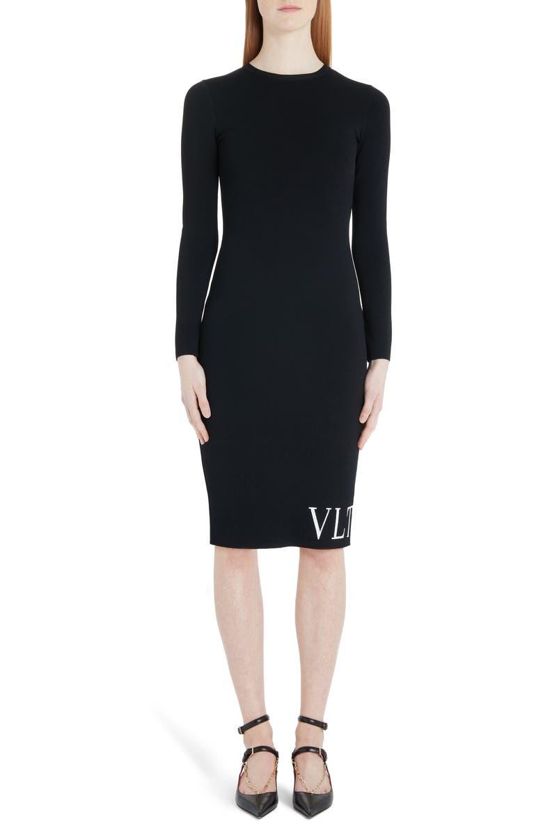 VALENTINO VLTN Logo Long Sleeve Sweater Dress, Main, color, 0NA-BLACK/ IVORY