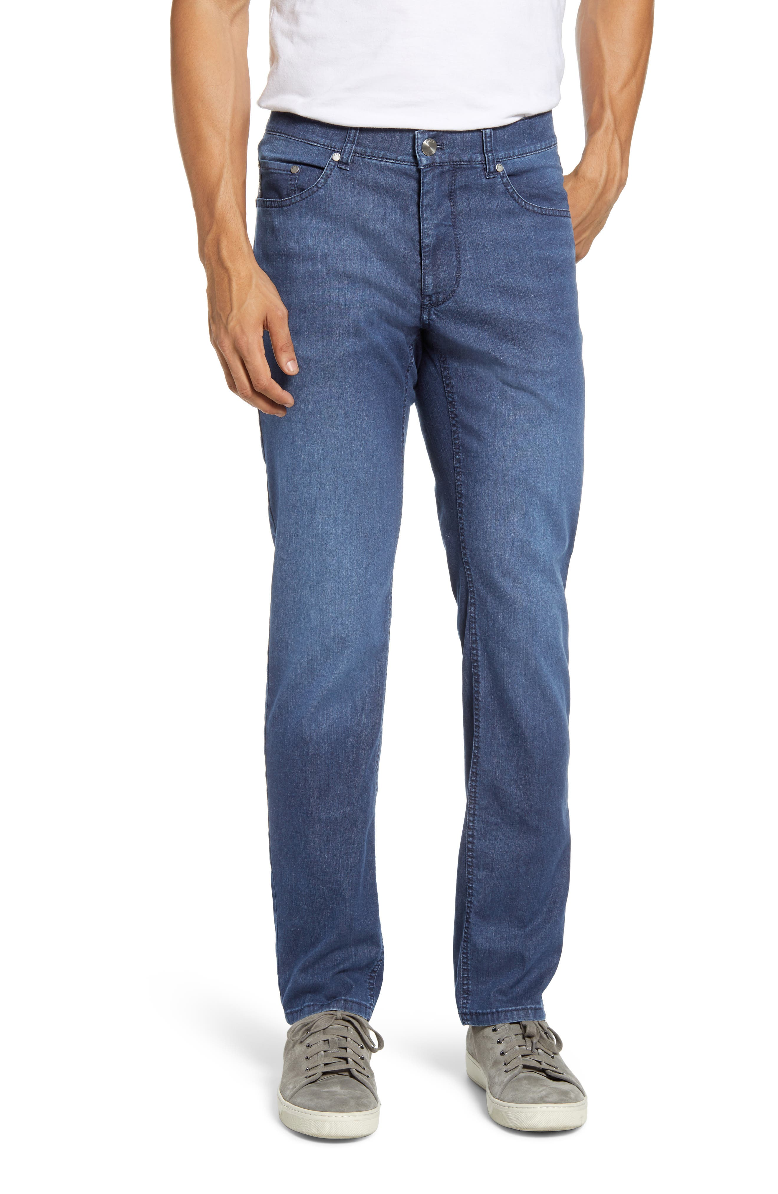 Luminous sanding and fading burnish the casual blue wash of jeans cut in a slim fit from lightweight stretch denim that\\\'s made with reduced environmental impact. Style Name: Brax Cooper Slim Fit Jeans (Ocean Water). Style Number: 5988986. Available in stores.