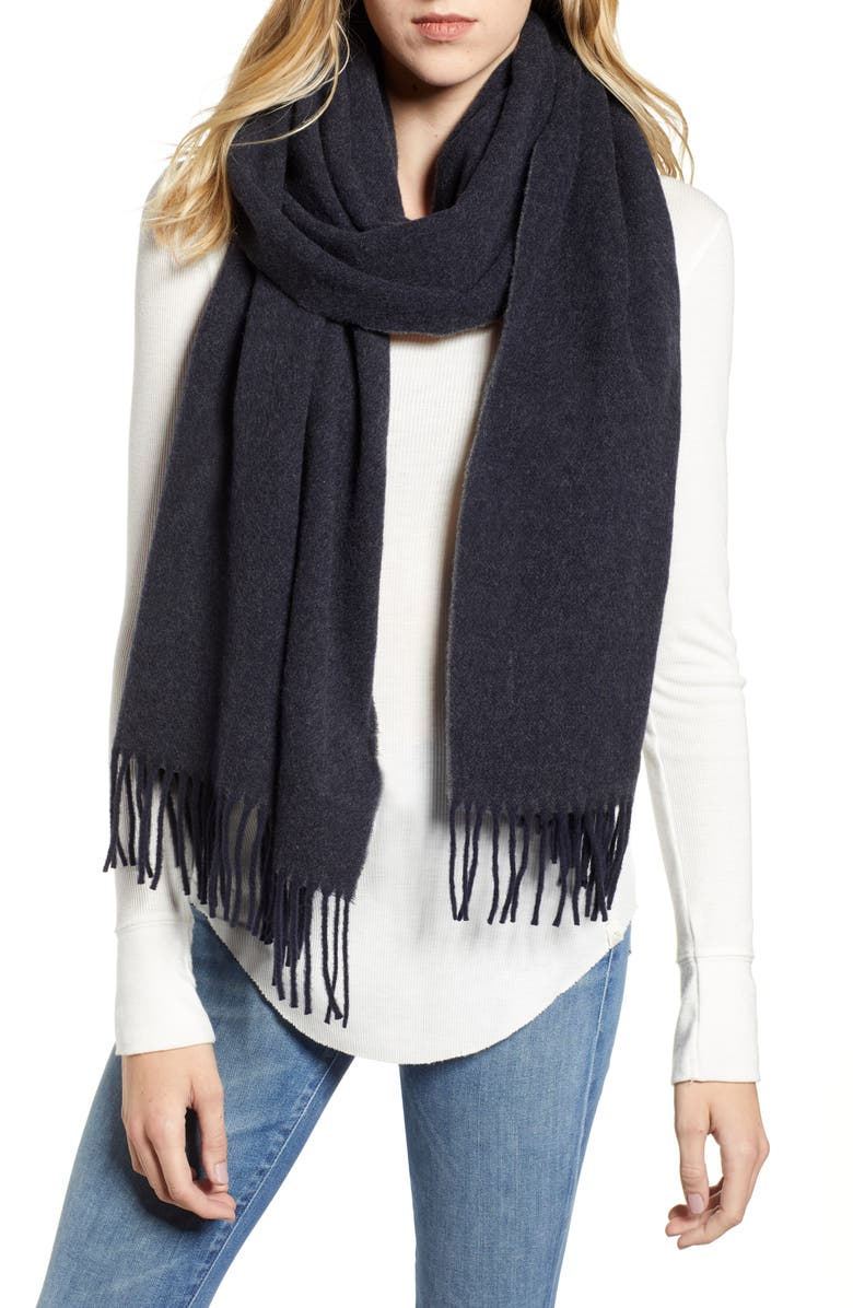 CANADA GOOSE Two Tone Woven Wool Scarf, Main, color, NAVY