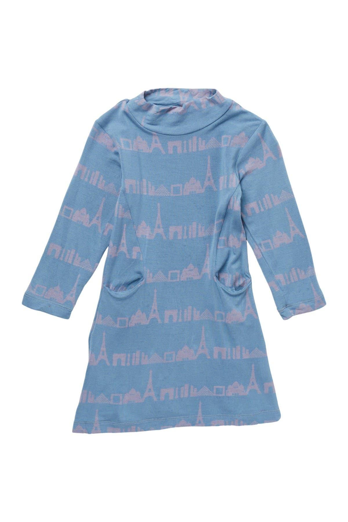 Image of KicKee Pants Patterned Mock Neck Sweater Dress