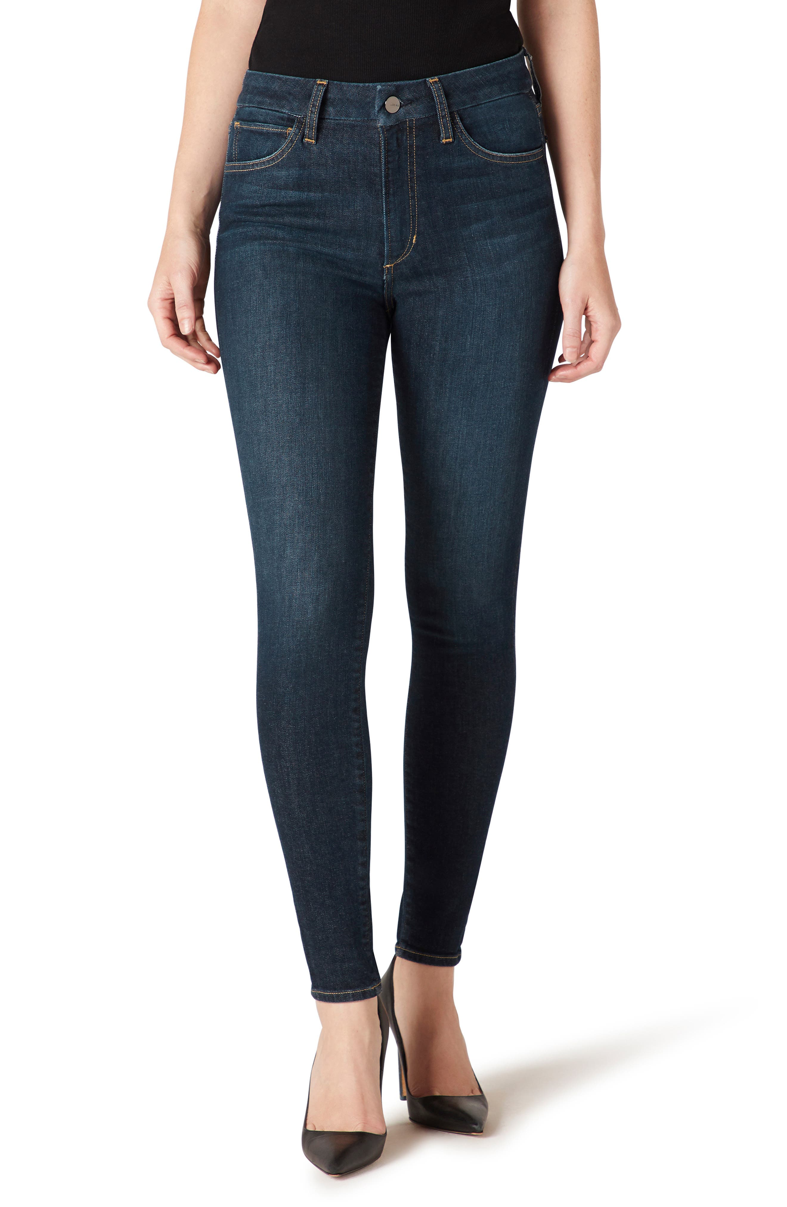 Polished skinny jeans in a deep, dark wash are sanded and whiskered ever so softly to give them a touch of preworn vintage vibes. Classic golden topstitching completes the look. Style Name: Joe\\\'s Hi Honey High Waist Ankle Skinny Jeans (Intrigue). Style Number: 6098221. Available in stores.