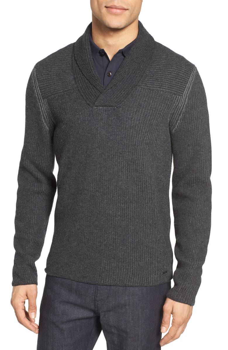 BOSS 'Berno' Shawl Collar Wool Pullover, Main, color, 010