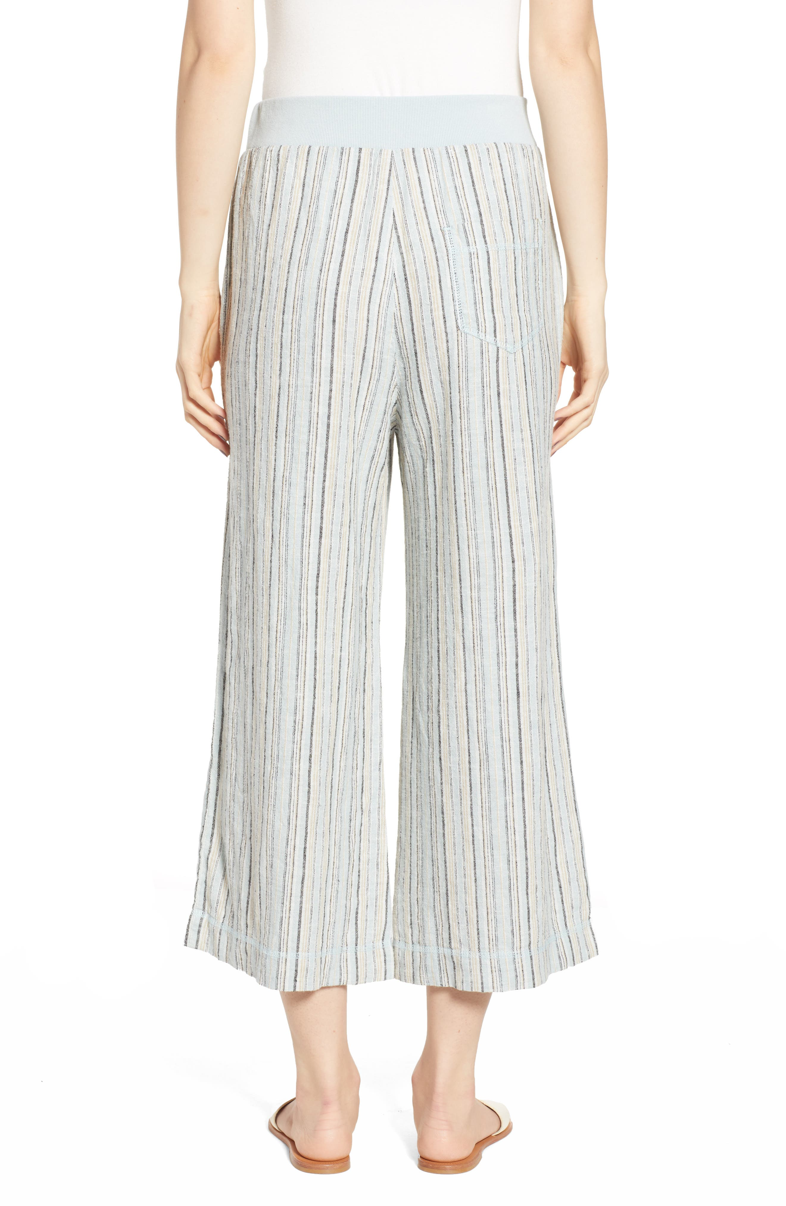 ,                             Stripe Crop Linen Blend Pants,                             Alternate thumbnail 2, color,                             450