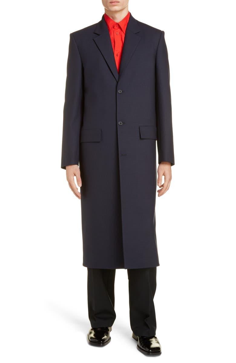 BALENCIAGA Single Breasted Topcoat, Main, color, NAVY