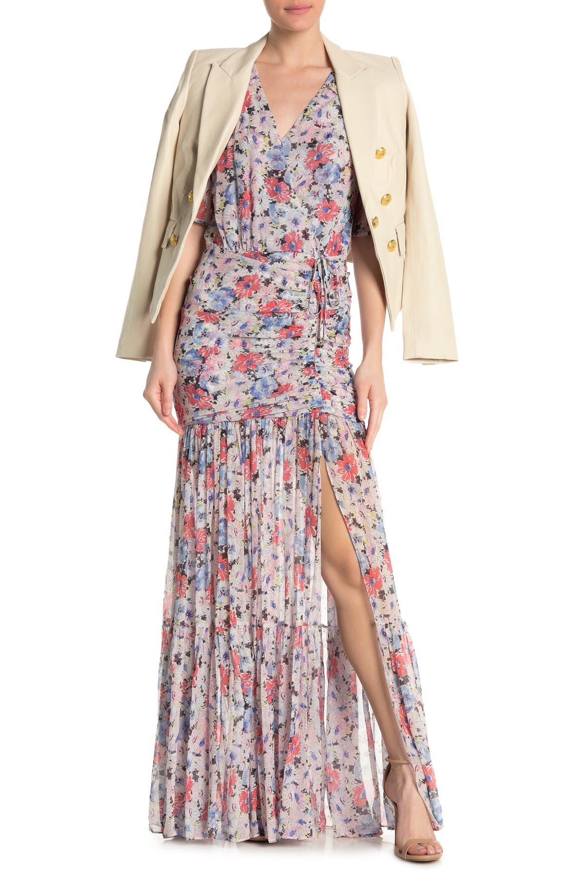 Image of VERONICA BEARD Mick Silk Floral Ruched Tie Maxi Dress