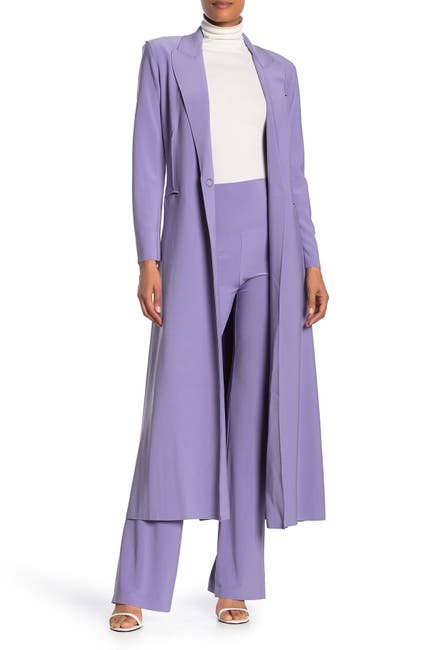 Image of Norma Kamali Woven Single Button Trench Coat