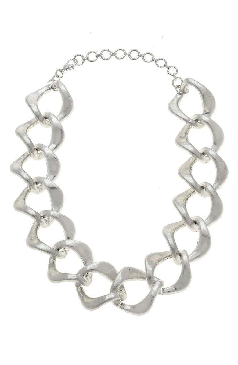 CANVAS JEWELRY Abella Statement Chain Necklace, Main, color, SILVER