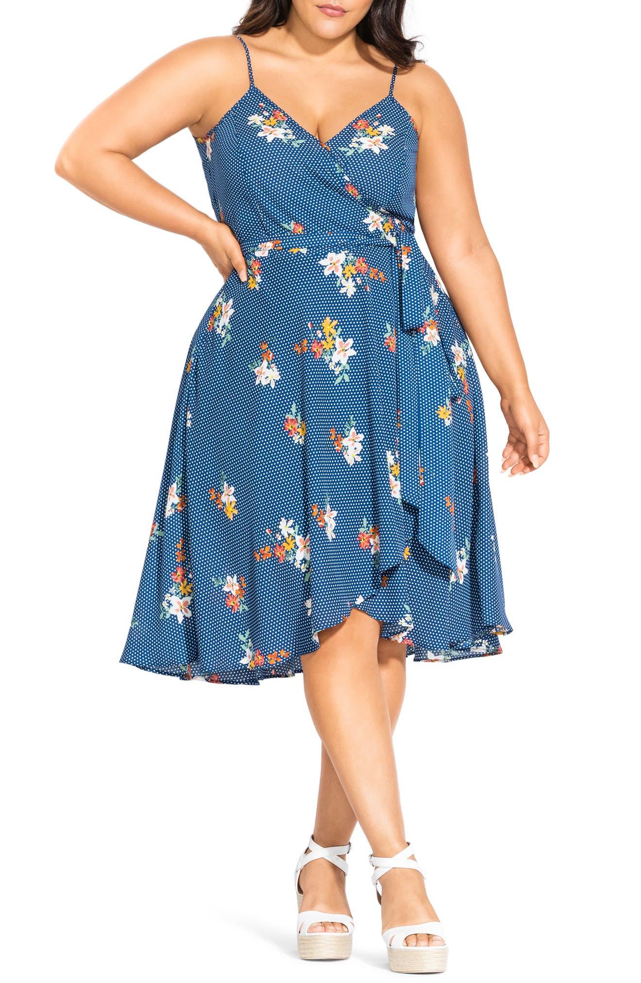 Plus Size City Chic Floral Print Wrap Dress, Blue
