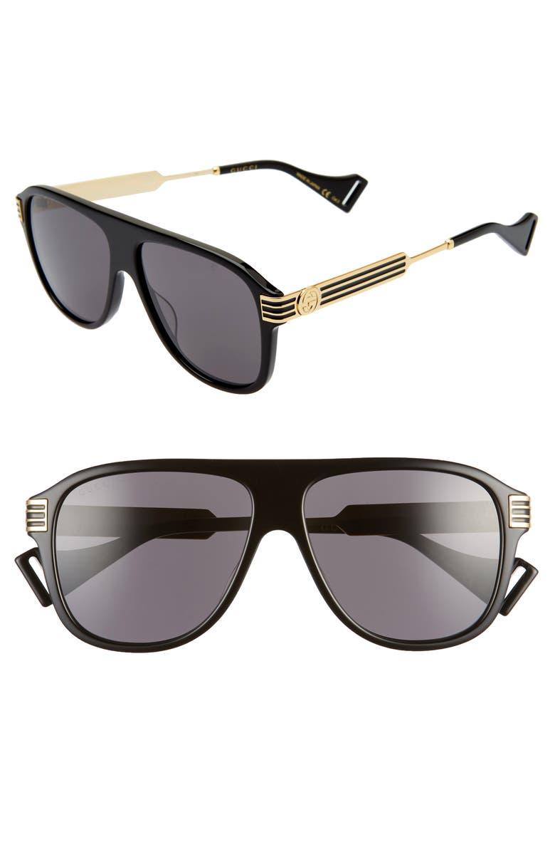 GUCCI 57mm Aviator Sunglasses, Main, color, SHINY BLACK