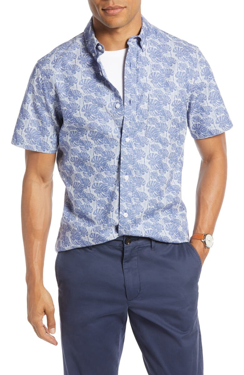 1901 Leaf Print Shirt, Main, color, WHITE BLUE BIJOU LEAF PRINT