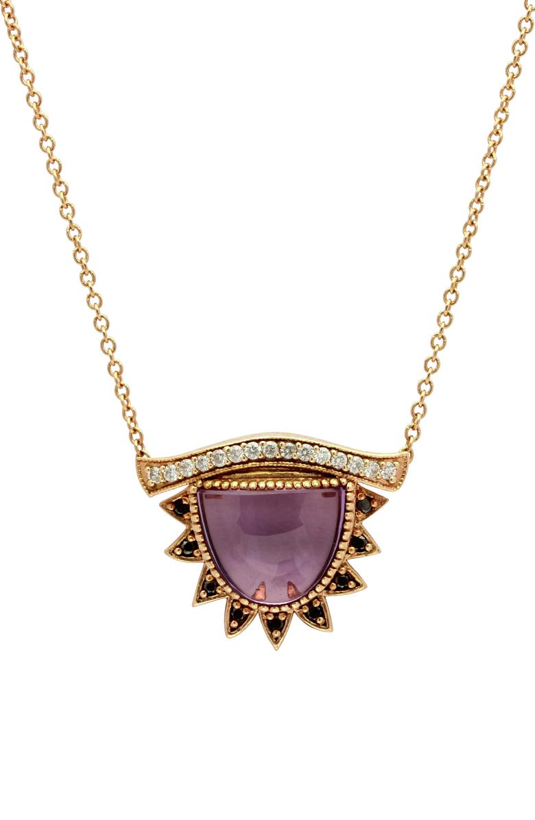 CONGÉS 'I Purify What I See' Small Amethyst Third Eye Necklace, Main, color, YELLOW GOLD