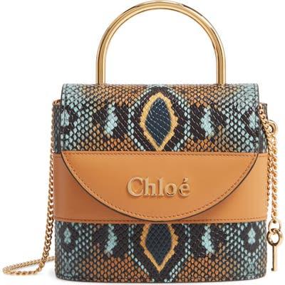 Chloe Aby Lock Python Embossed Leather Shoulder Bag - Blue