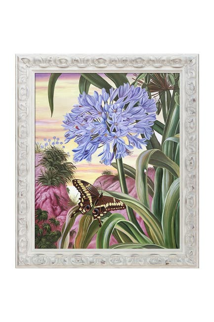 """Image of Overstock Art Blue Lily and Large Butterfly with Brimfield Cottage White Frame, 25"""" x 29"""""""