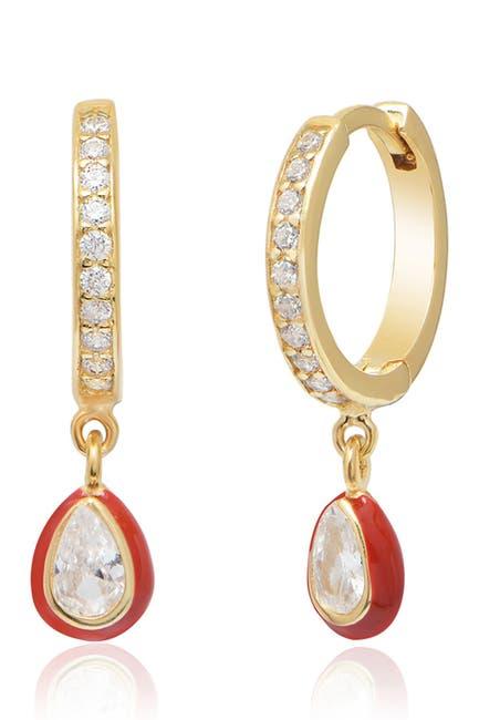 Image of Gabi Rielle Red Enamel Drop Huggie Earrings