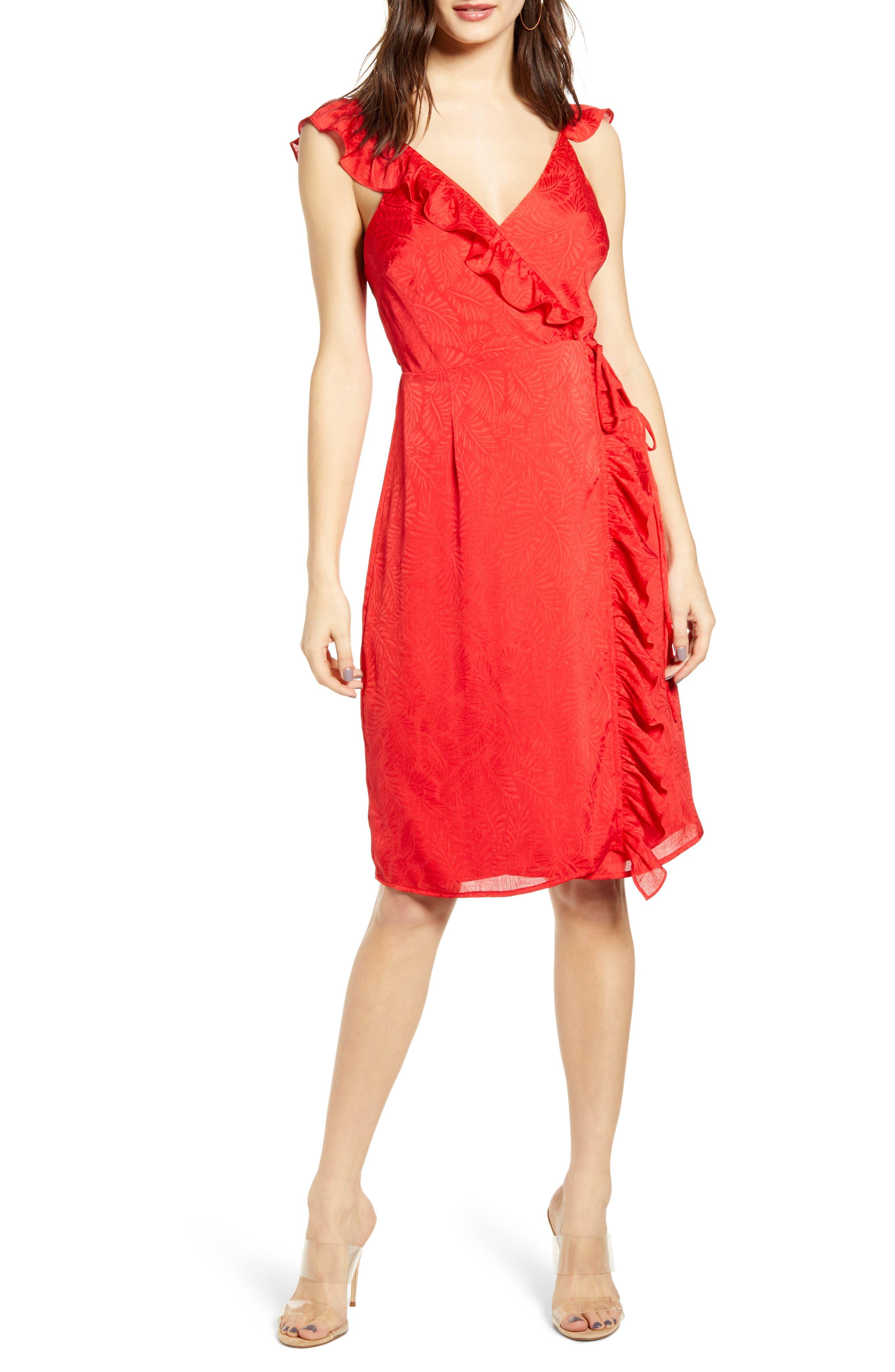 4Si3Nna Sleeveless Ruffle Wrap Dress, Red