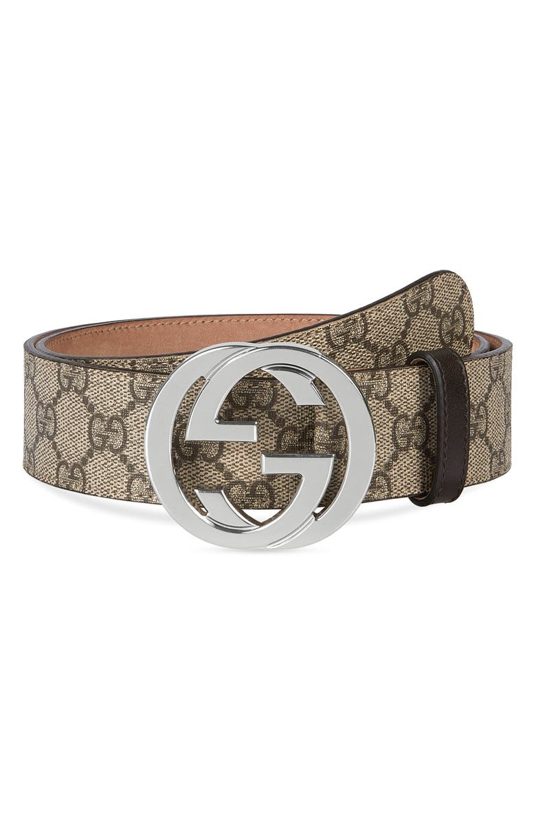 GUCCI Logo Buckle Belt, Main, color, BROWN