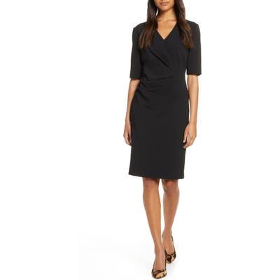 Tahari Pleat Detail Sheath Dress, Black