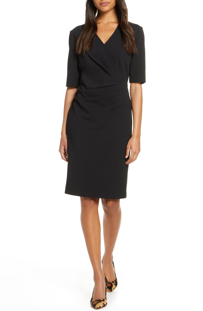 TAHARI Pleat Detail Sheath Dress, Main, color, BLACK