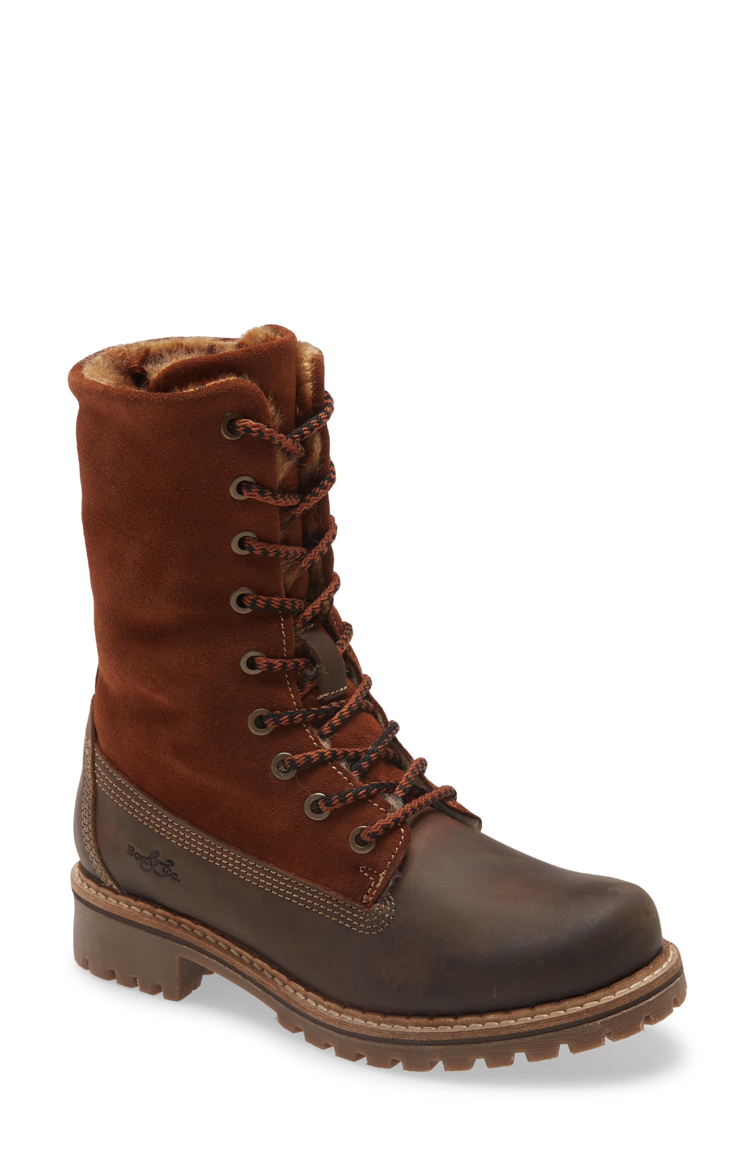 Stomp through the snow in style and comfort with this suede-and-leather boot lined in merino wool and featuring a fold-over shaft to show the faux-fur trim. The chunky lugged sole helps you keep a grip in treacherous urban terrain. Style Name: Bos. & Co. Hazel Wool Lined Waterproof Lace-Up Boot (Women). Style Number: 6086154. Available in stores.