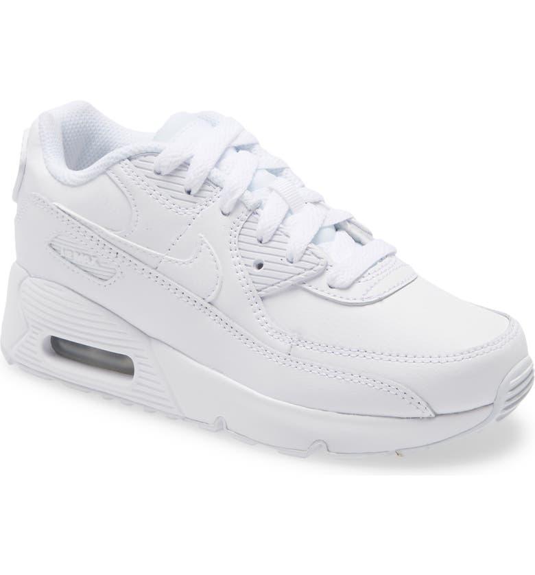 NIKE Air Max 90 Sneaker, Main, color, WHITE/ WHITE/ METALLIC SILVER