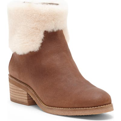 Tarina Genuine Shearling Cuff Bootie, Brown