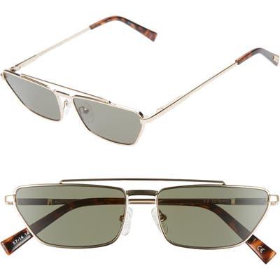 Le Specs Electricool 57Mm Cat Eye Aviator Sunglasses - Gold/ Khaki