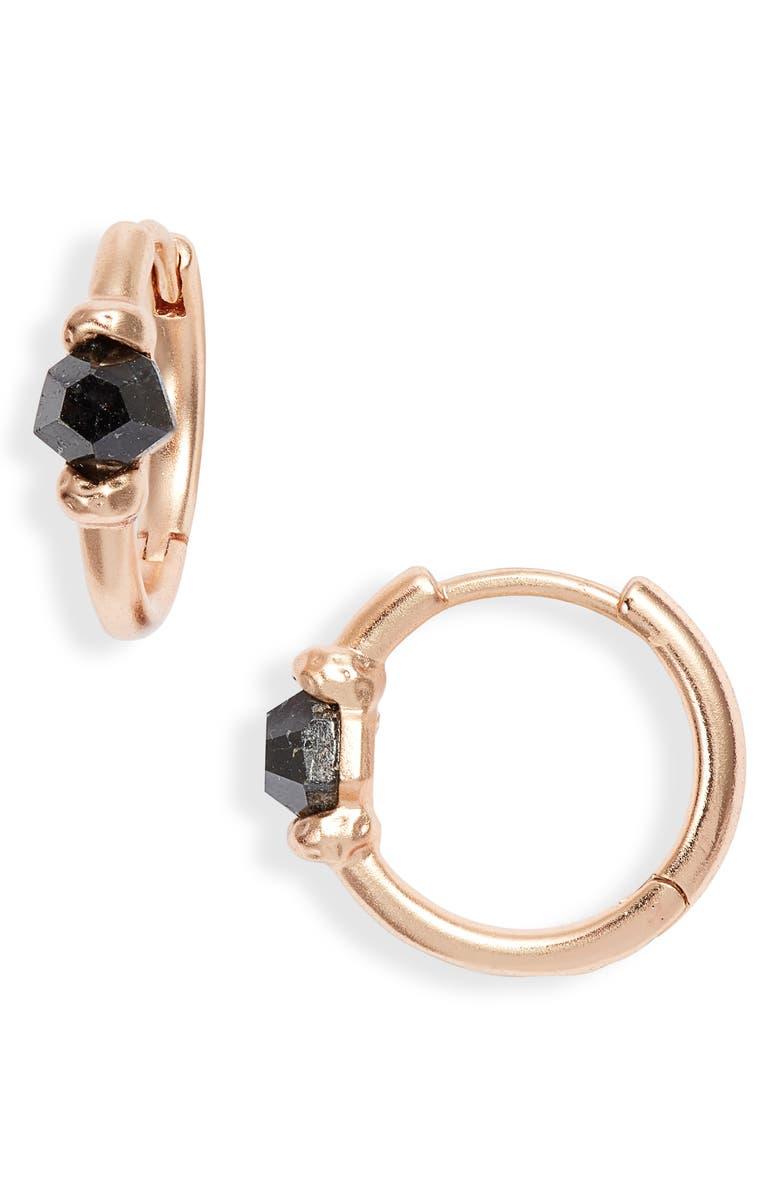 KENDRA SCOTT Ellms Huggie Earrings, Main, color, ROSE GOLD/ BLACK GRANITE