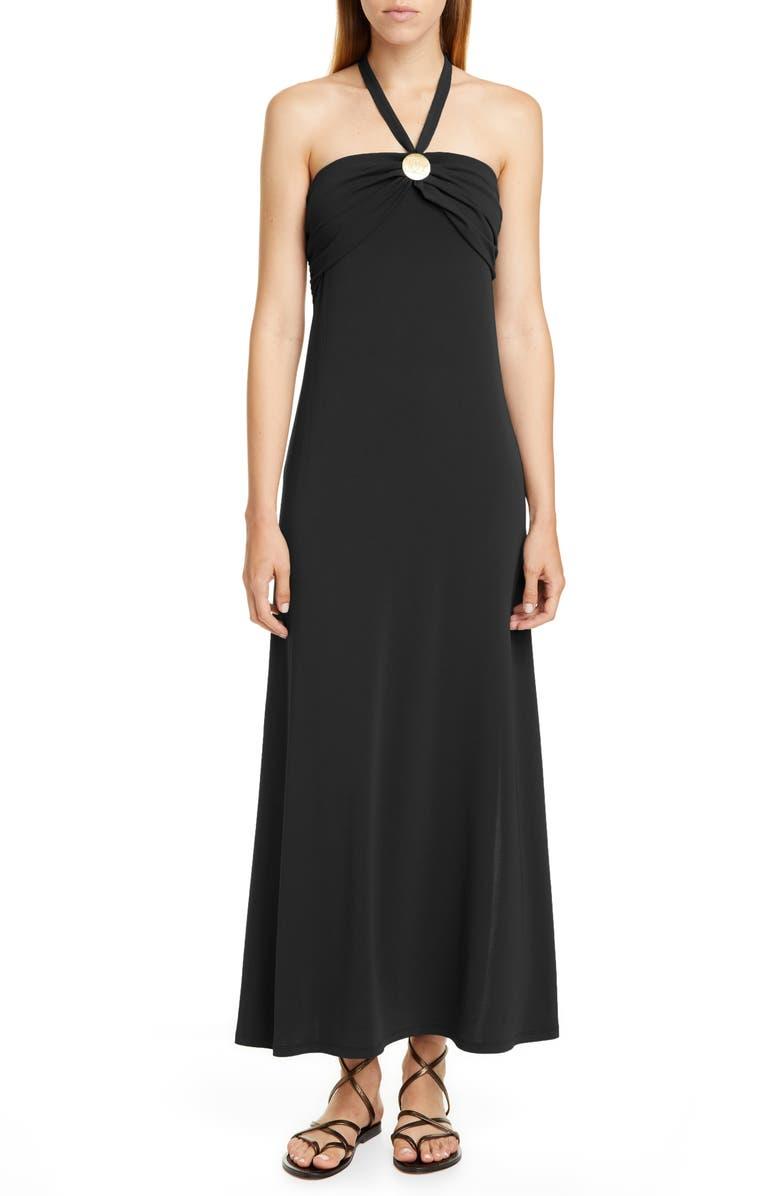 MAX MARA Morris Cover-Up Maxi Dress, Main, color, BLACK
