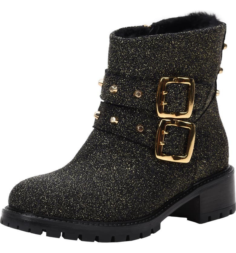 ROSS & SNOW Stefana SP Genuine Shearling Lined Weatherproof Bootie, Main, color, GOLD LEATHER