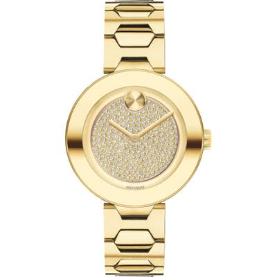 Movado Bold Pave T-Bar Bracelet Watch, 32mm