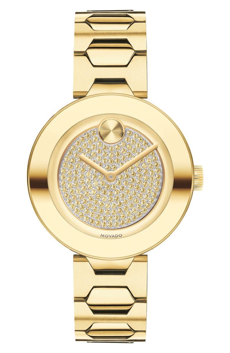 MOVADO Bold Pavé T-Bar Bracelet Watch, 32mm, Main, color, GOLD