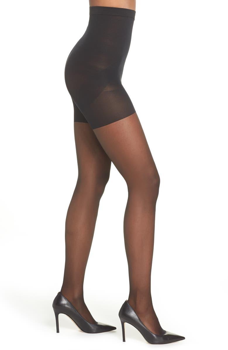 NORDSTROM Naked Sheer Control Top High Waist Pantyhose, Main, color, BLACK