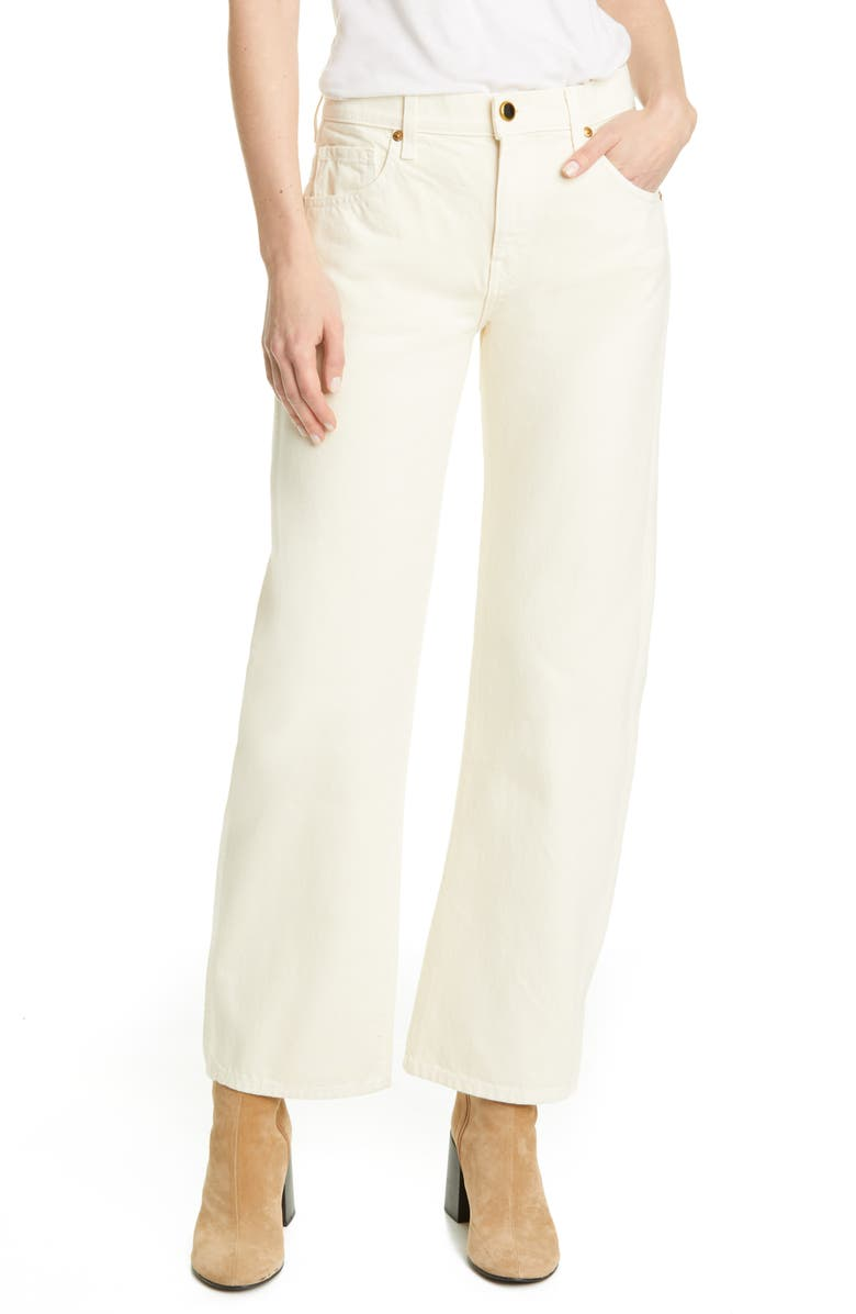 KHAITE Kerrie Straight Leg Jeans, Main, color, IVORY RIGID