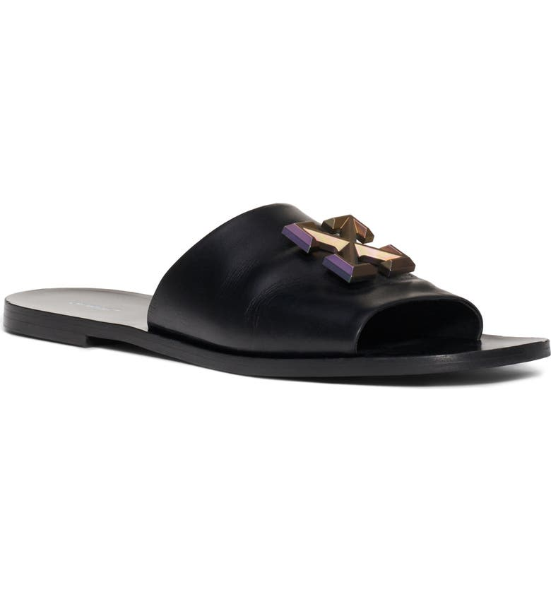 OFF-WHITE Arrow Slide Sandal, Main, color, BLACK